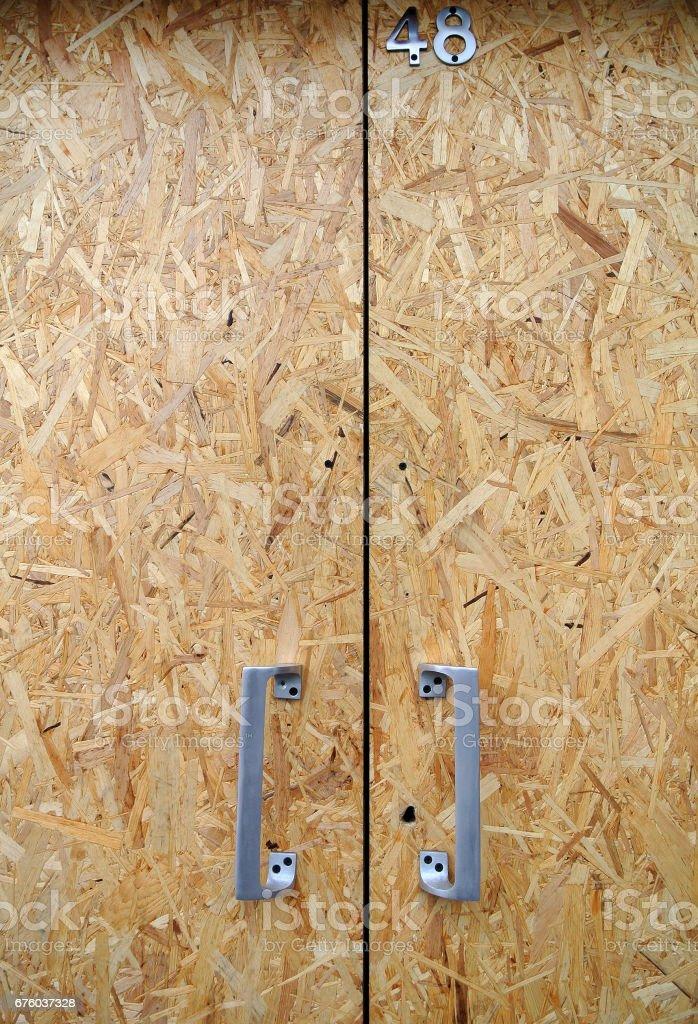 door chipboard stock photo