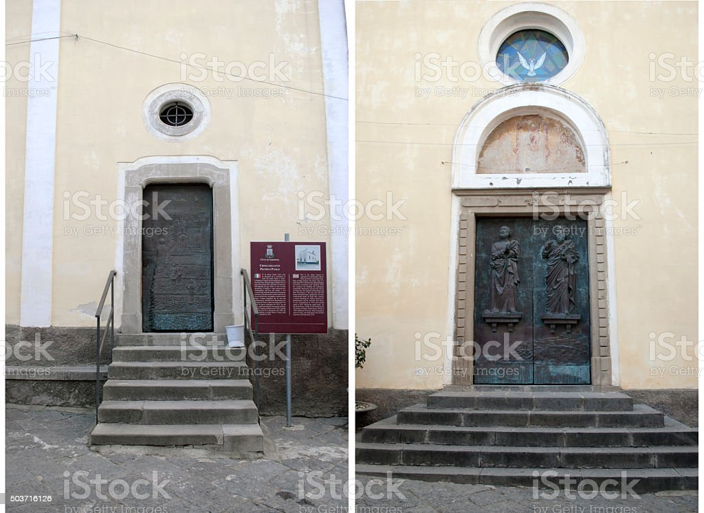Door Church of Saints Peter and Paul, Agropoli village, Italy stock photo