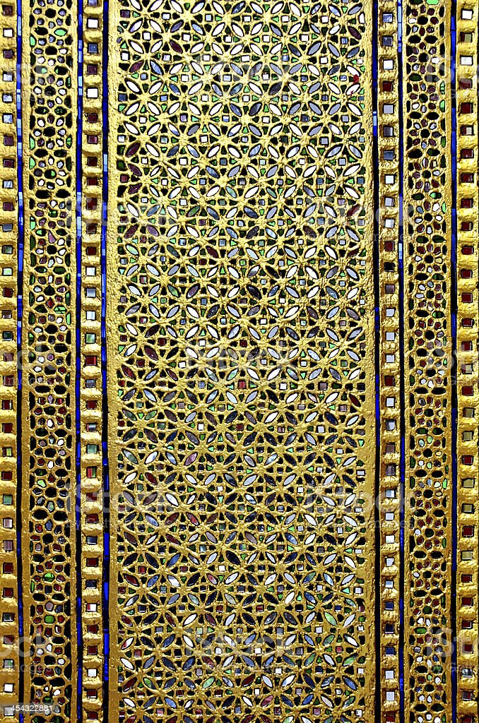 Door decorated with colored glass and gold. royalty-free stock photo
