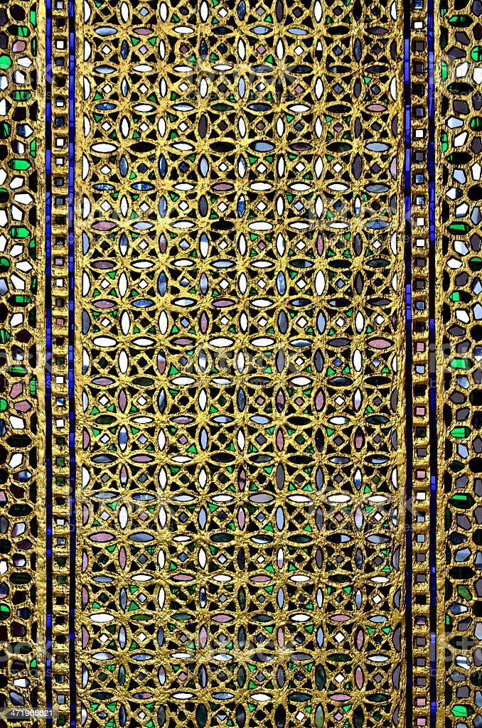 Door decorated with colored glass royalty-free stock photo