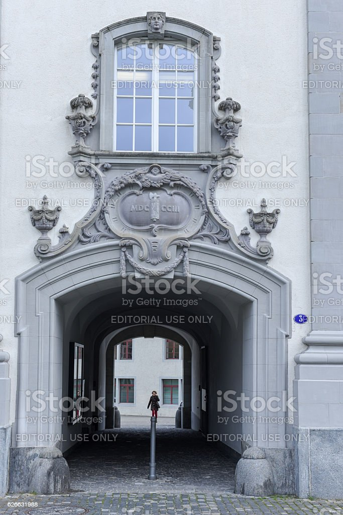 Door detail at the abbey of St. Gallen on Switzerland stock photo