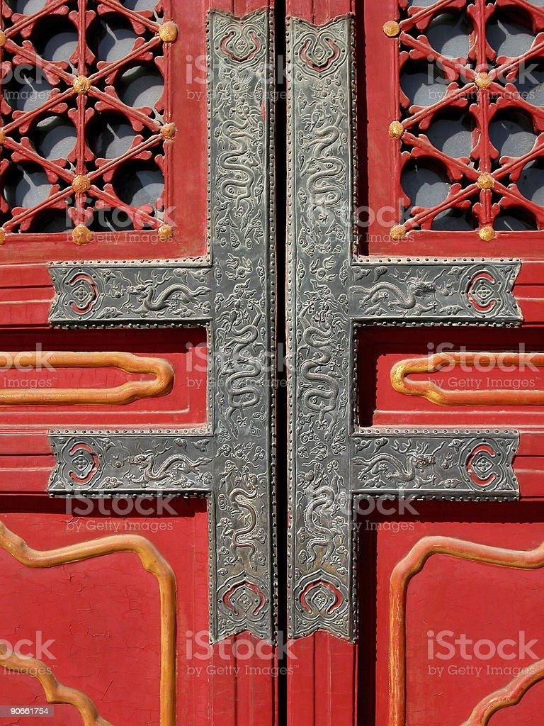 Door detail, Forbidden City, Beijing royalty-free stock photo