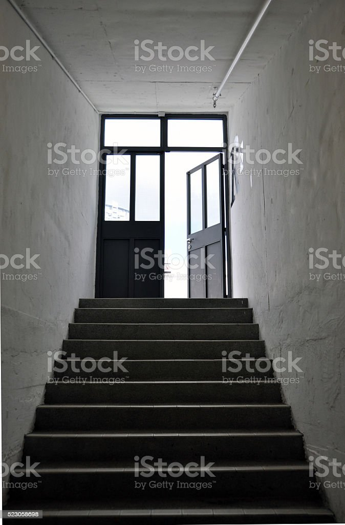 Door Exit with Stair stock photo