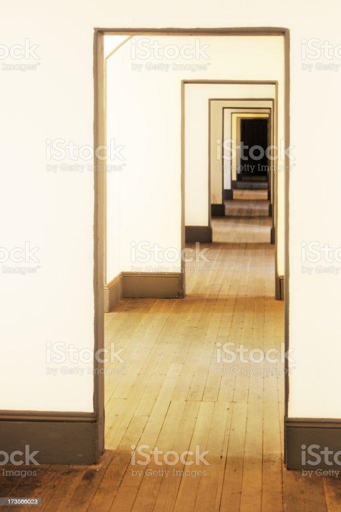 Door Frame Diminishing Hallway Corridor stock photo