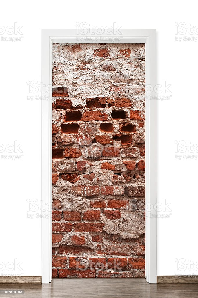 Door frame with brick wall inside, white background stock photo