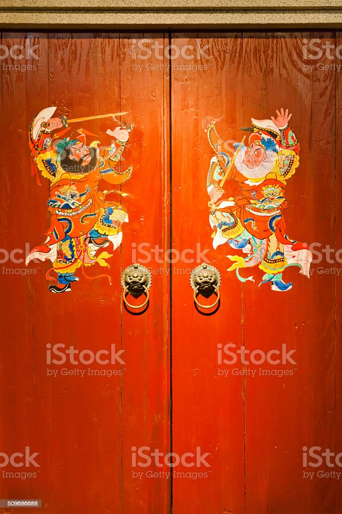 Door god on a pair of doors, China stock photo