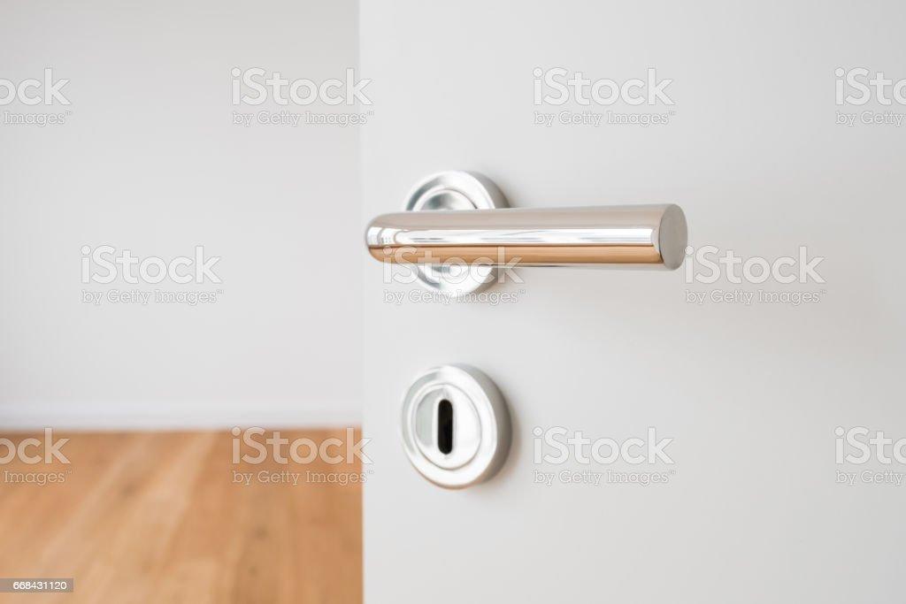 door handle closeup on open door in new apartment stock photo
