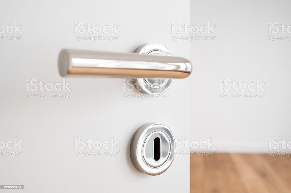 door handle closeup on open door in new flat stock photo