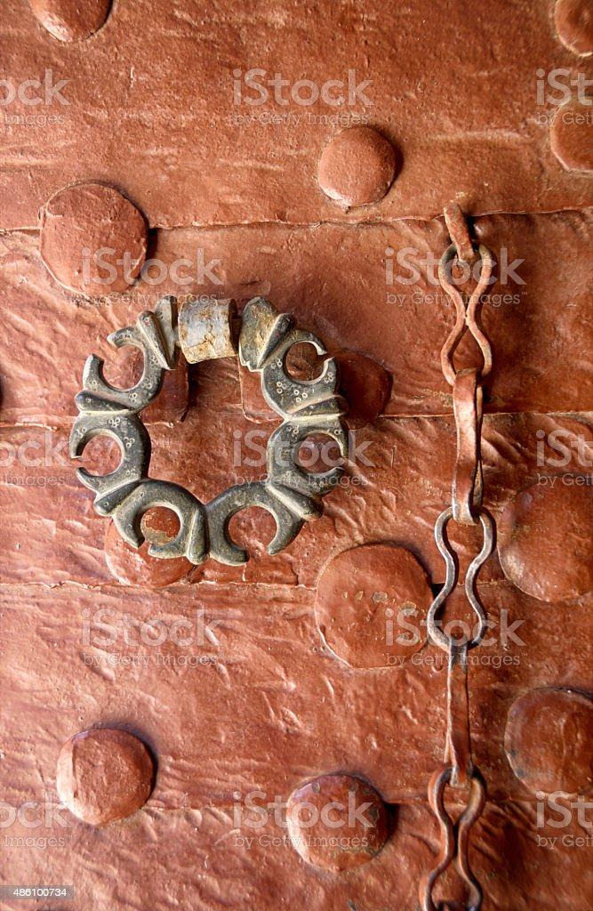Door Handle of Ancient Syriac Orthodox Churh Mar Benham, Mardin stock photo