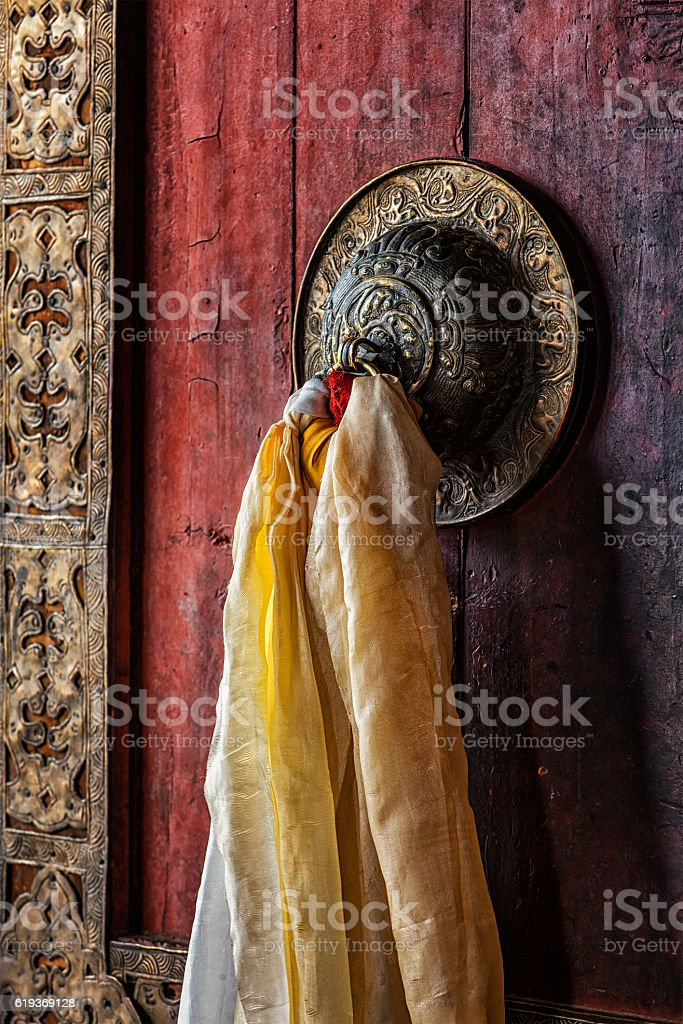 Door handle of gates in Thiksey gompa, Ladakh, India stock photo