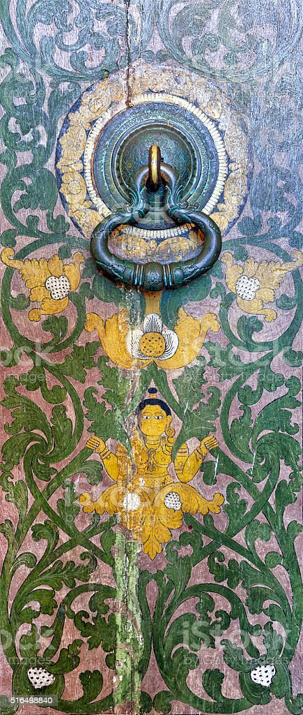 Door Handle of Lankatilaka Vihara Buddhist Temple stock photo