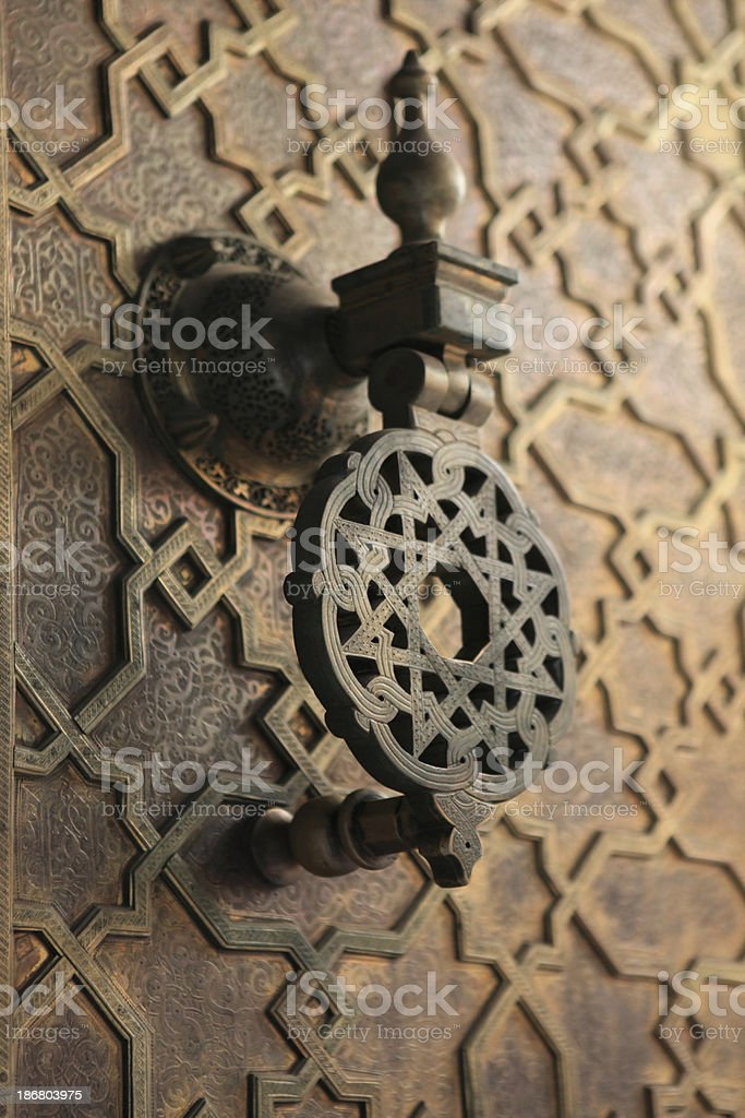 Door Handle Of Medersa Bou Inania, Fez, Morocco royalty-free stock photo