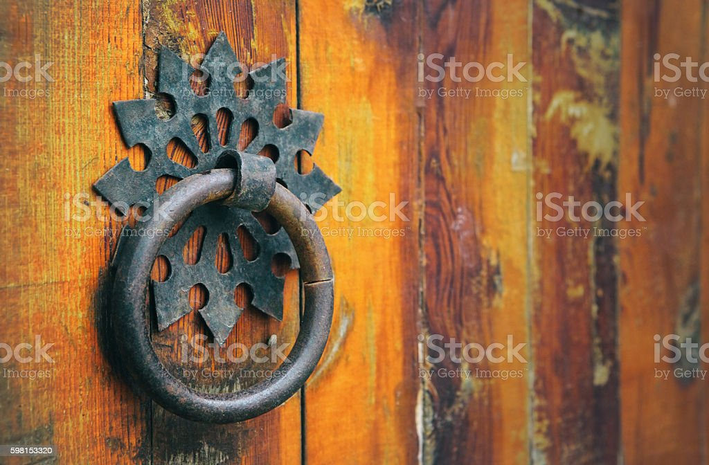Door Handle of Old Building from Ottoman Empire in Tirana stock photo