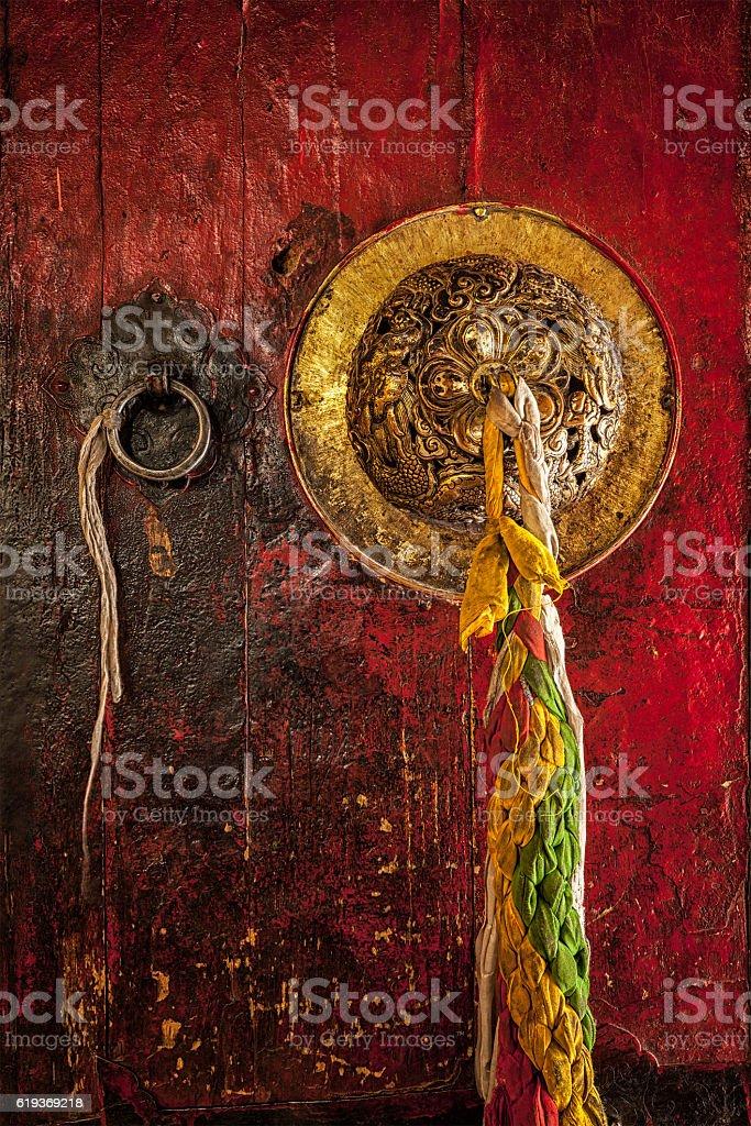 Door handle Tibetan Buddhist monastery stock photo