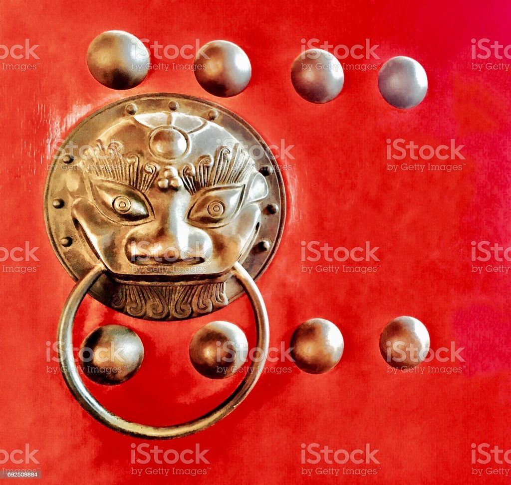 Door Handle with Chinese Lion Head Shape stock photo