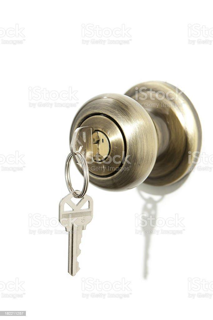 Door Handle with keys stock photo