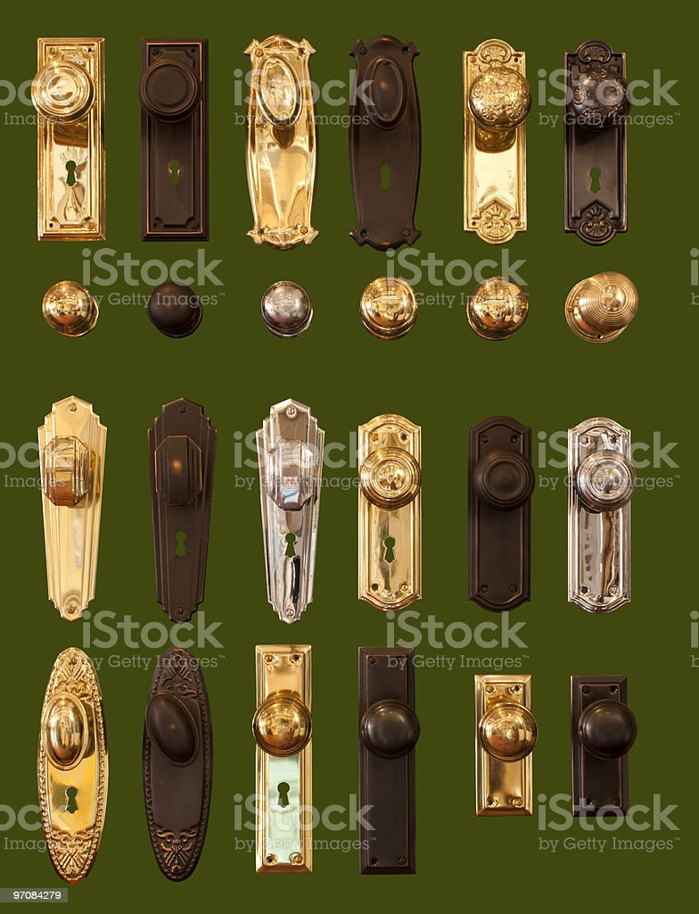 Door handles display collection isolated on dark green background stock photo