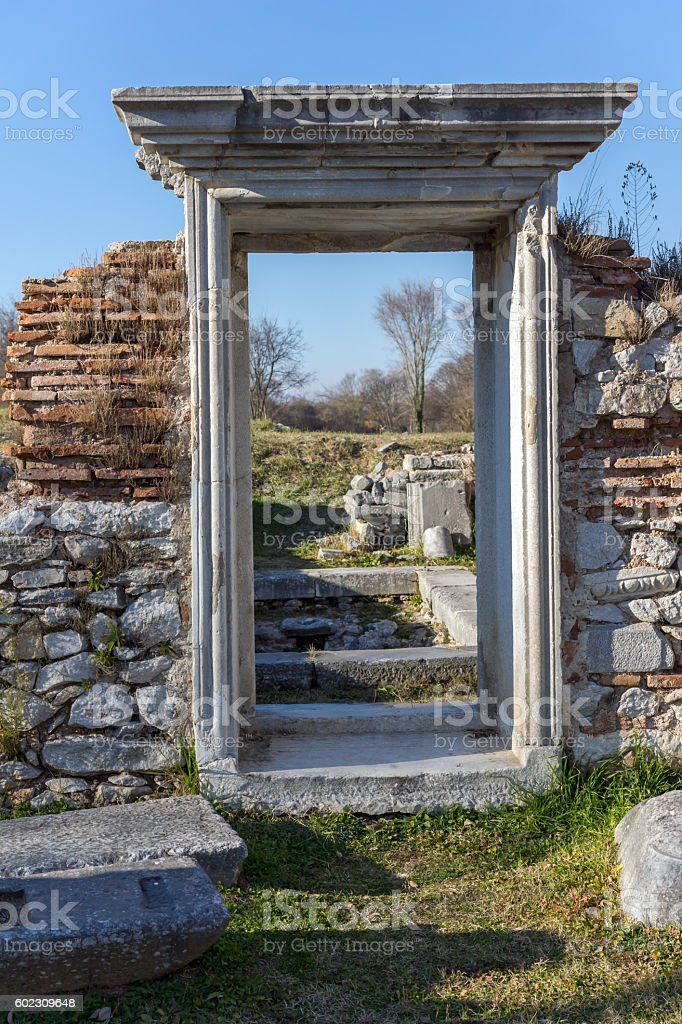 Door in Basilica in the archeological area of ancient Philippi stock photo