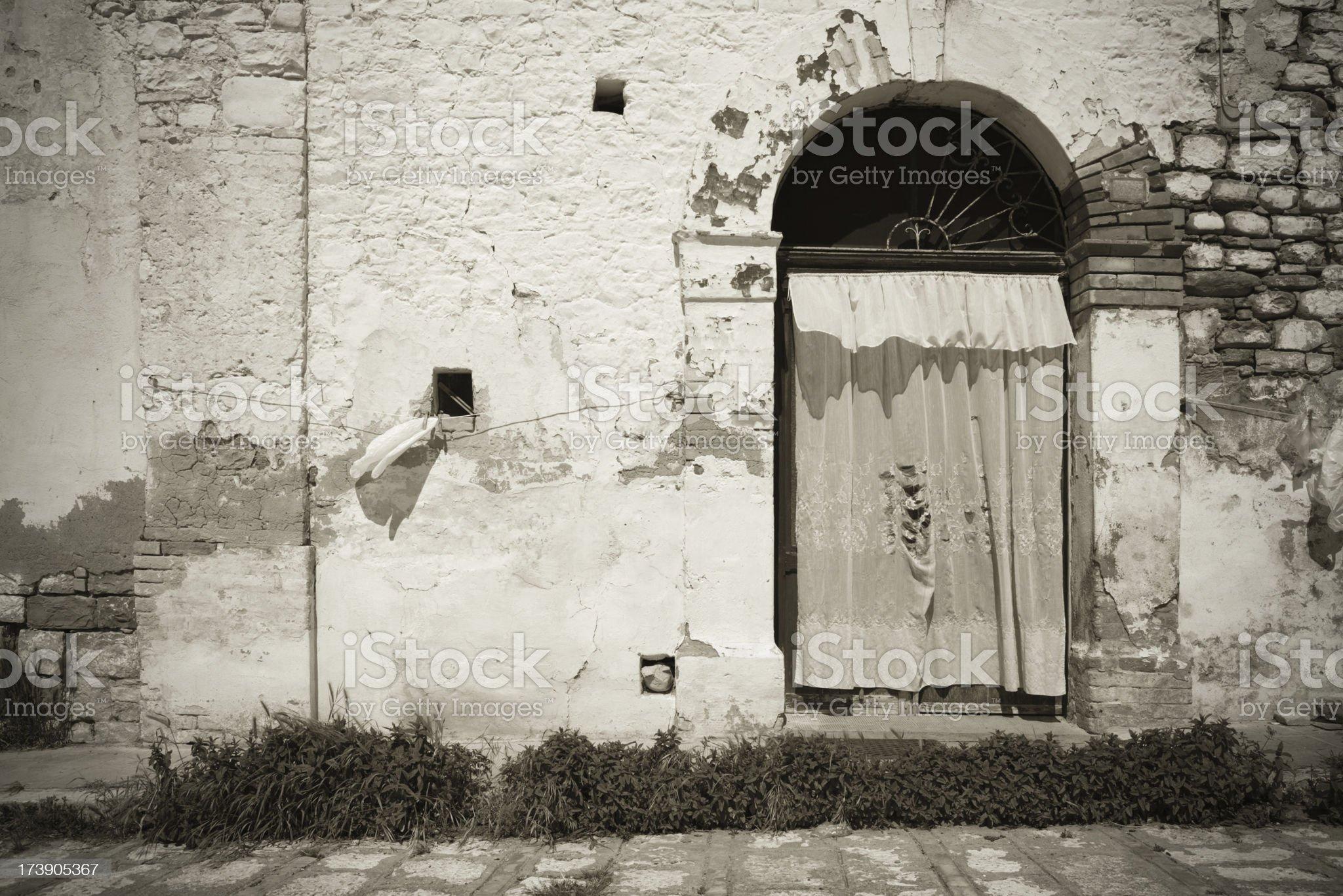 Door in Craco - abandoned village, Basilicata royalty-free stock photo