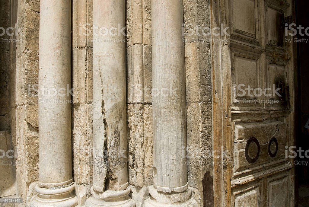Door in front Holy Sepulcher royalty-free stock photo