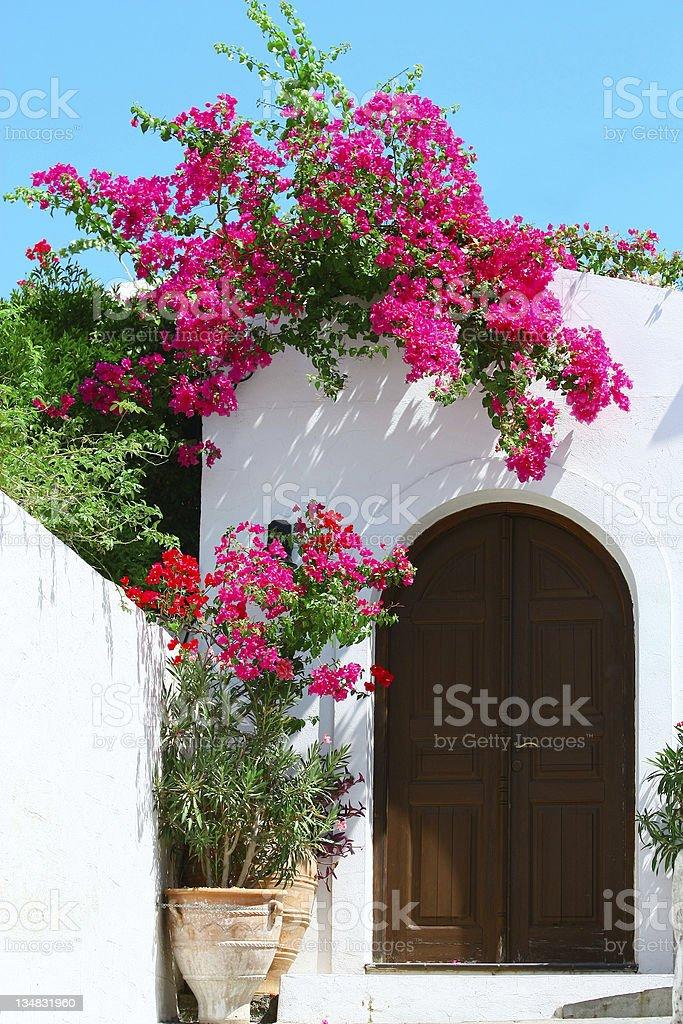 Door in Lindos - island Rhodes, Greece royalty-free stock photo