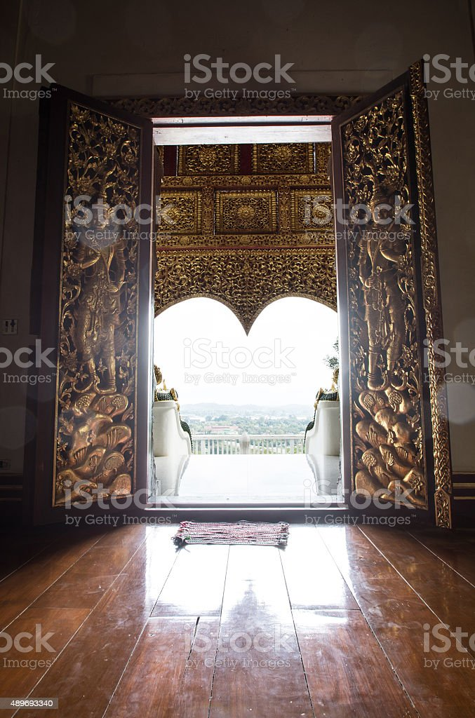 door in Phra That Chom Kitti temple, Chiang Saen, Thailand, stock photo