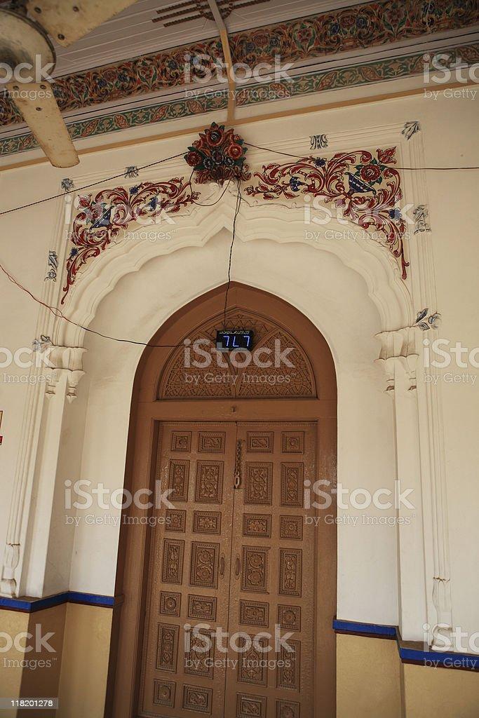 Door in Portico Arcade of Mosque stock photo