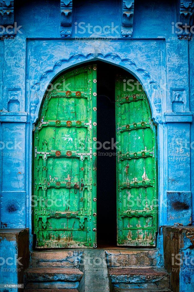 Door in the Blue City - Jodhpur, India stock photo