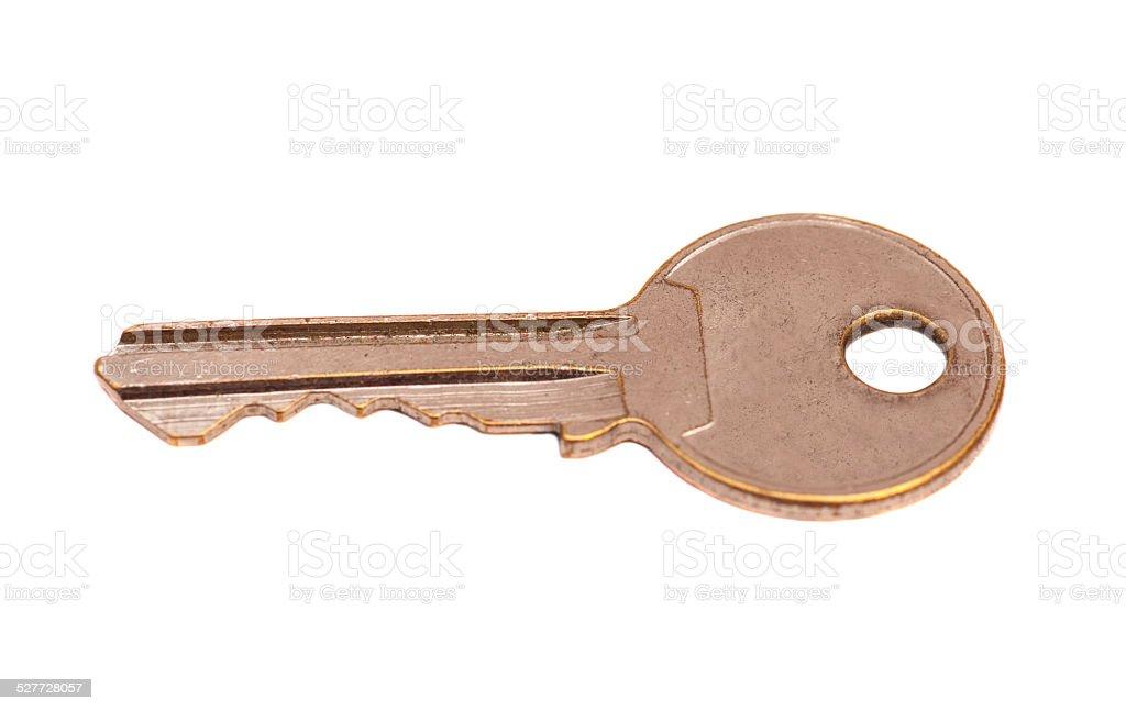 Door key isolated on white background stock photo