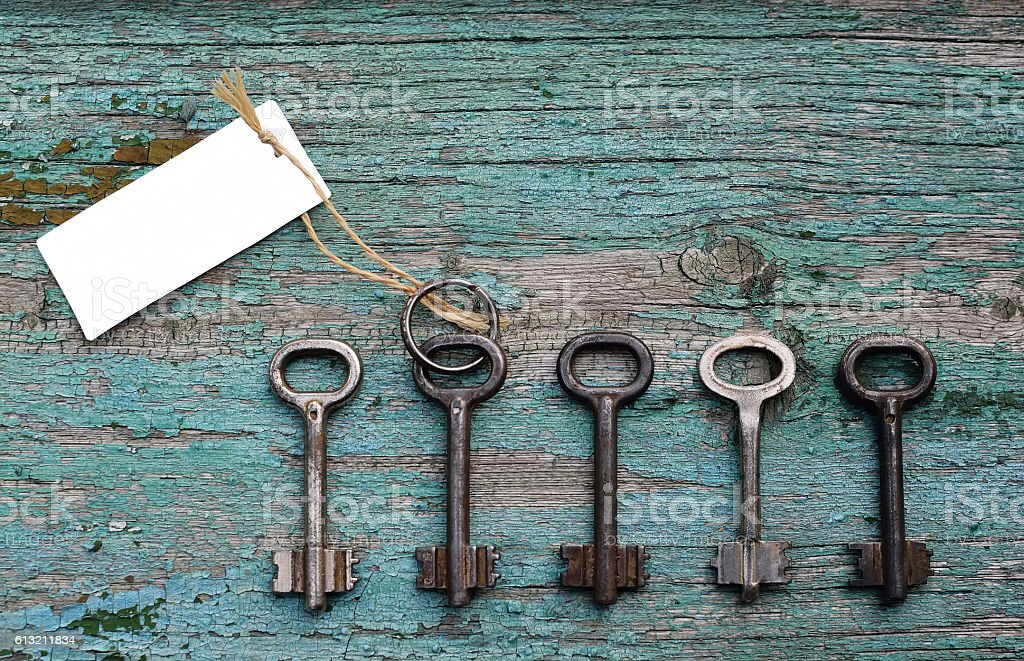 Door key with blank card among other ones stock photo