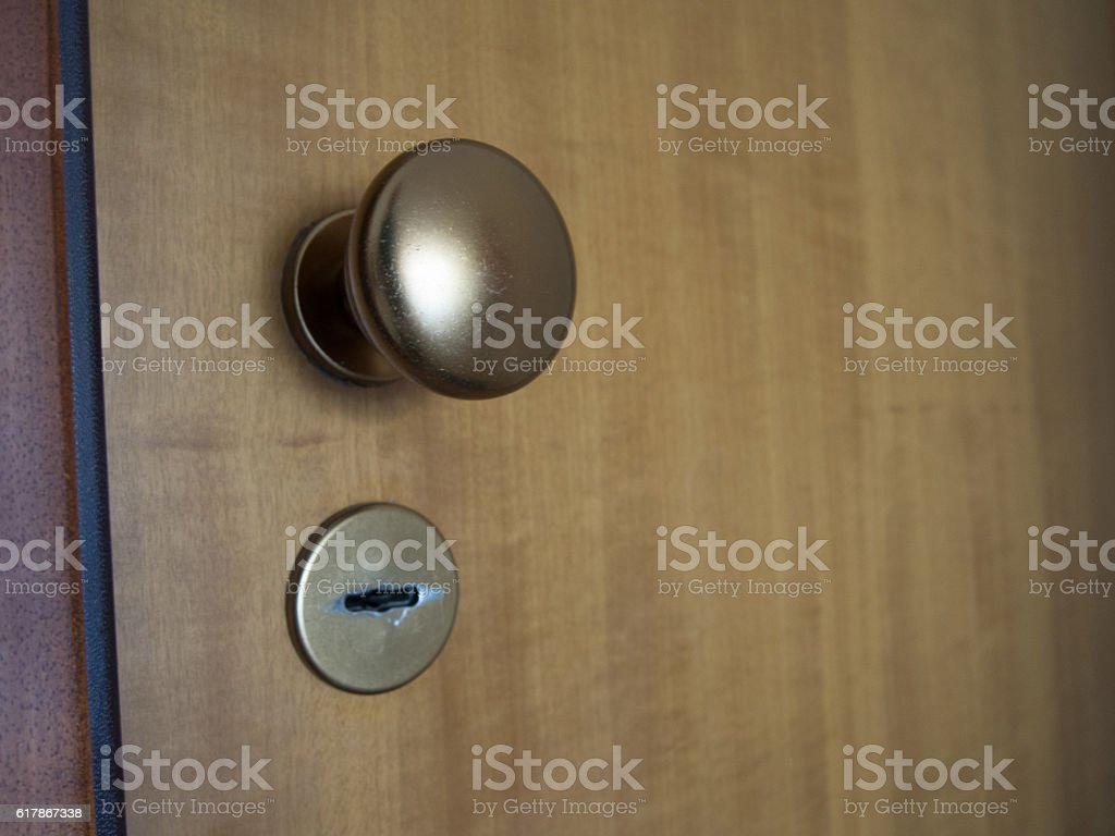 Door Knob and Key Hole stock photo