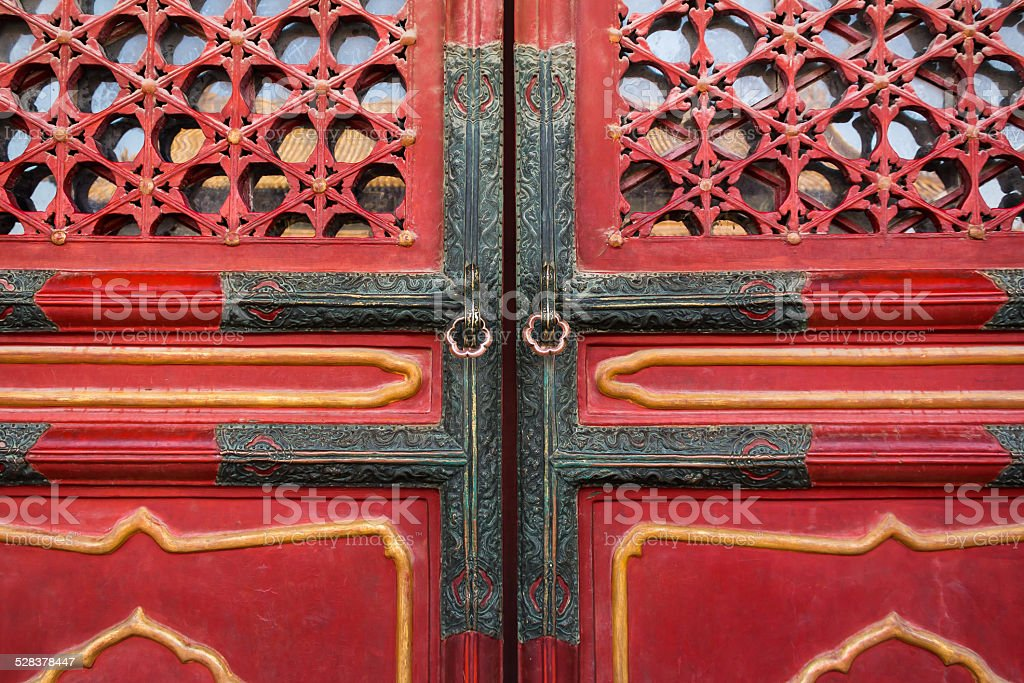 Door knob in Forbidden City stock photo