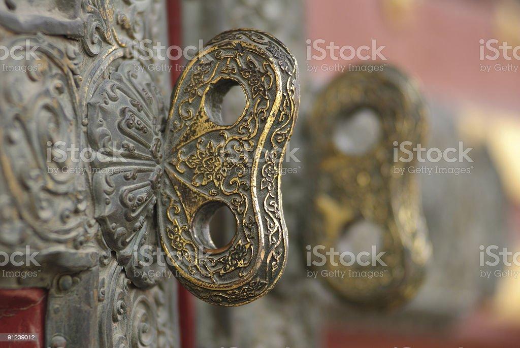 Door knob in Forbidden City stock photo