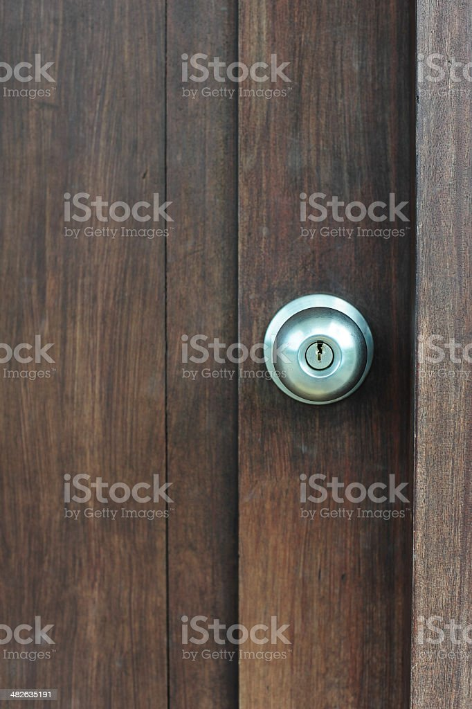 Door knob on wooden door stock photo