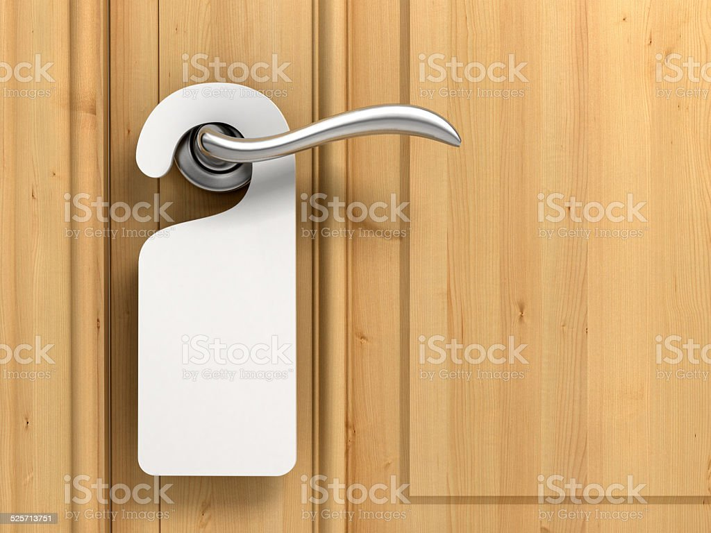 Door knob with blank label stock photo