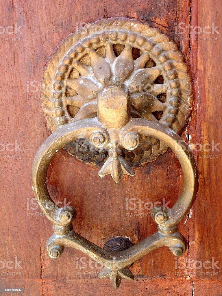 Door knocker, Jewish synagogue/museum, Rhodes, Greece royalty-free stock photo