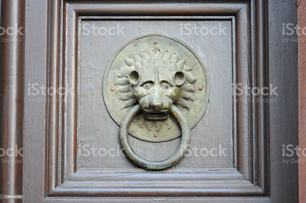 Door Knocker Mainz Cathedral (Germany)- Löwen Türklopfer am Mainzer Dom stock photo