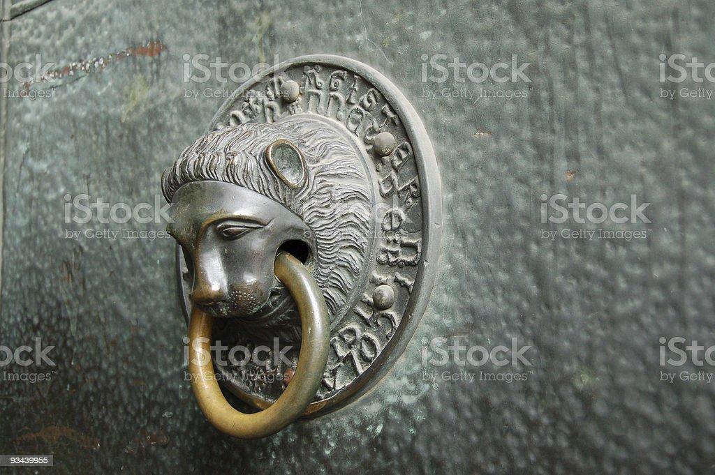 Door Knocker of Trier dom st. peter (Germany) stock photo