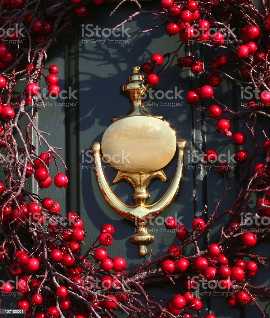 Door Knocker with Berry Wreath royalty-free stock photo