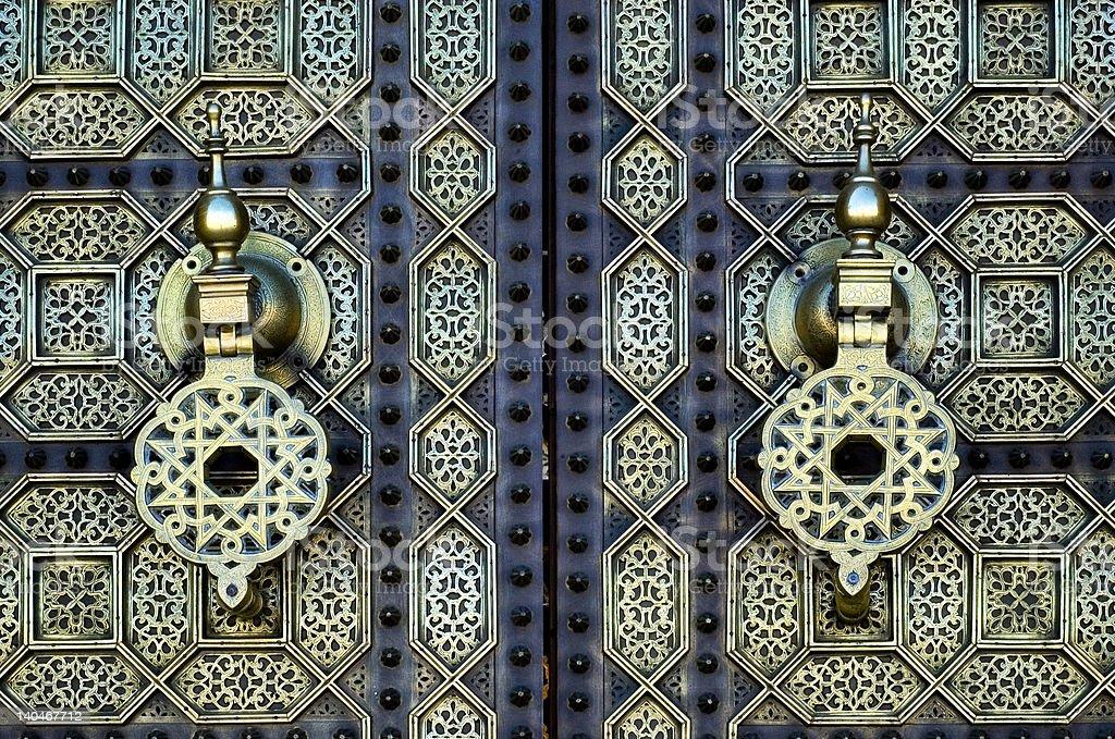Door Knockers, Mausoulem of King Hassan II in Rabat, Morocco royalty-free stock photo