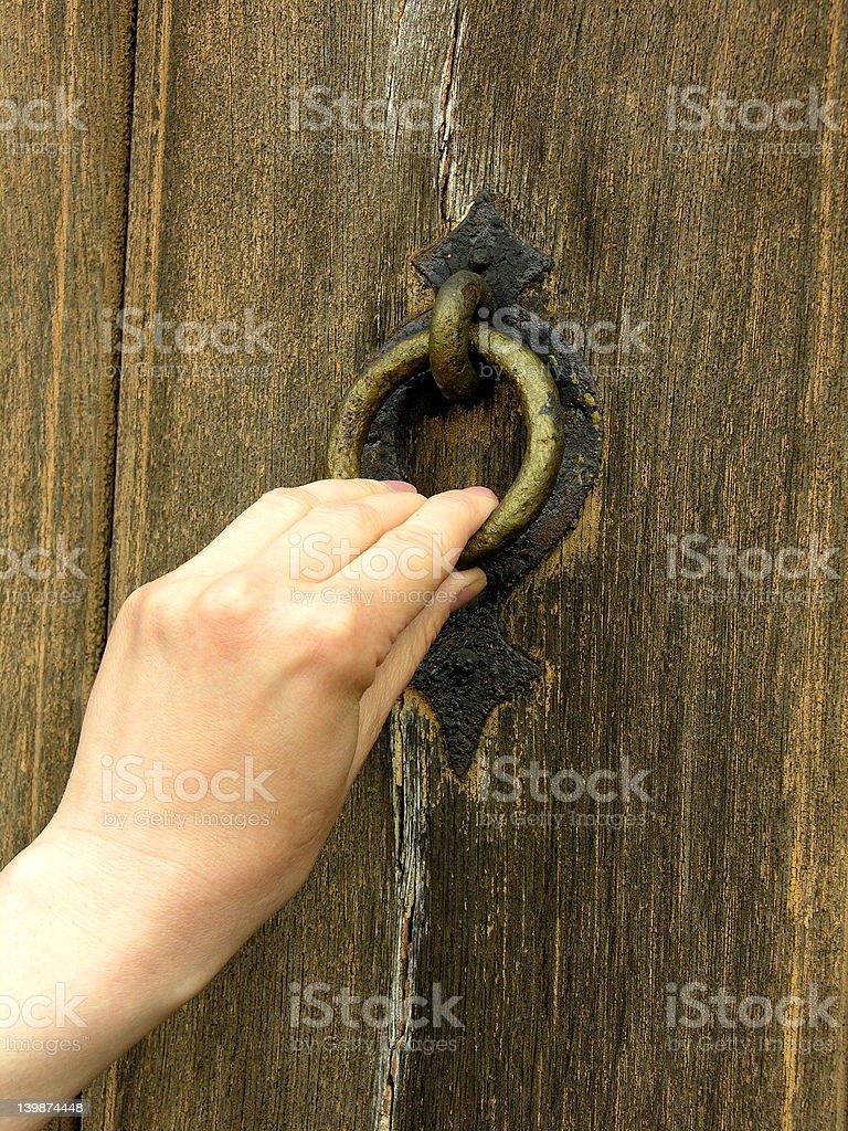 Door knocking royalty-free stock photo