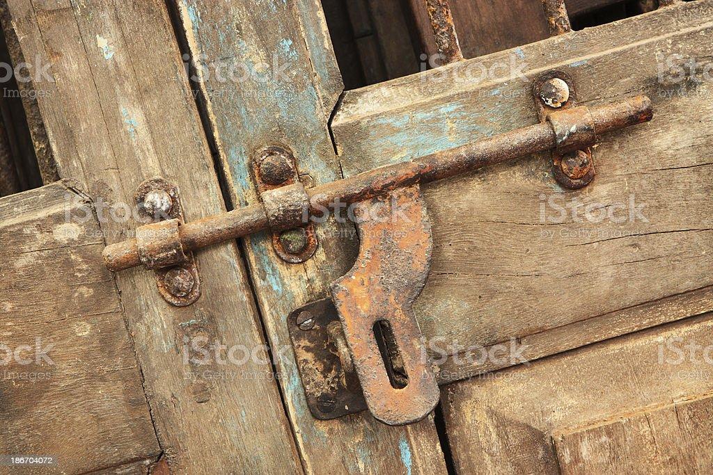 Door Latch Rustic Entrance Door Decor royalty-free stock photo