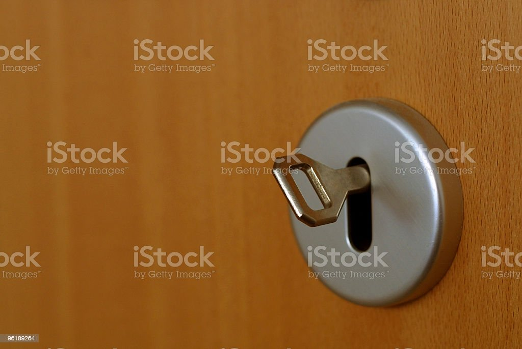 Door lock and key royalty-free stock photo