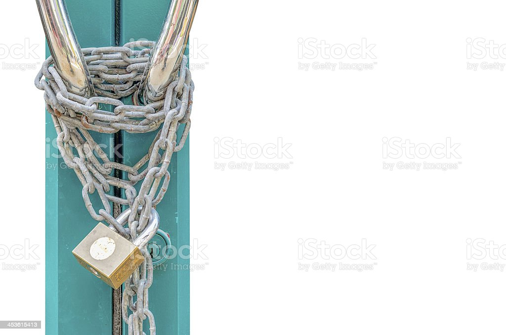 Door Lock with Chain stock photo