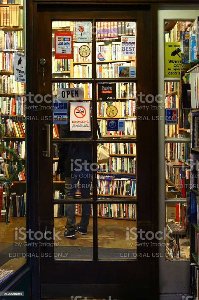 Door of a bookshop in Charing Cross Road, London stock photo