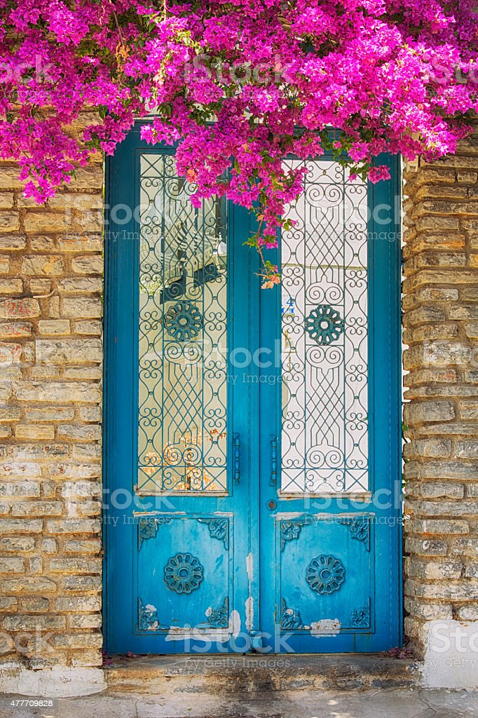 Door of a Classical Bodrum's House, Turkey stock photo