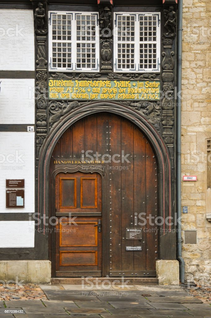 Door of a timbered house stock photo