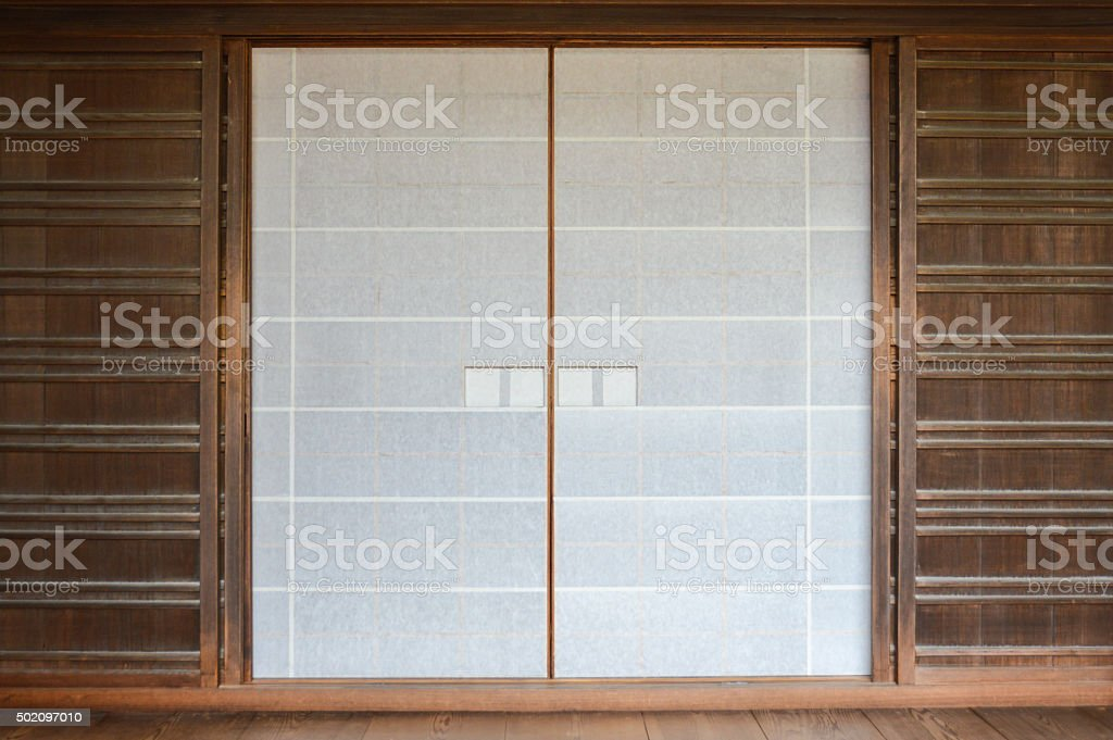Door of a traditional Japanese building stock photo