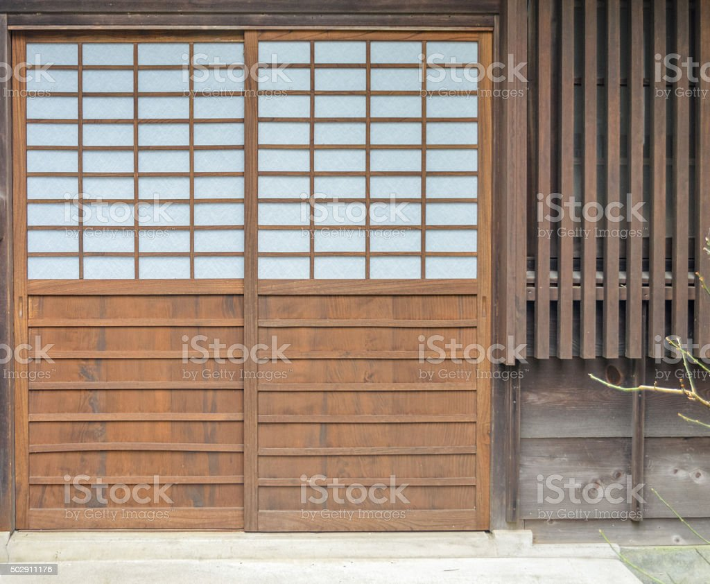 Door of a traditional Japanese home stock photo