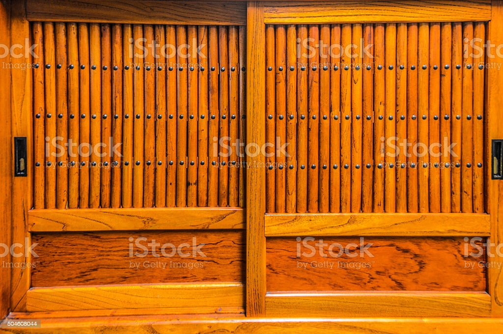 Door of a traditional Japanese wood building stock photo